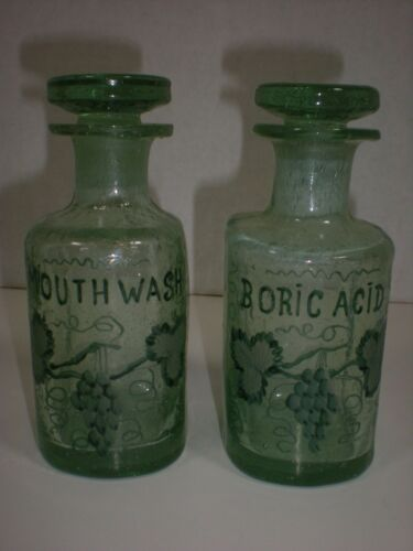 Antique Apothecary Bottles with Stopper Hand Blown Pontil Scar RARE Unusal Shape