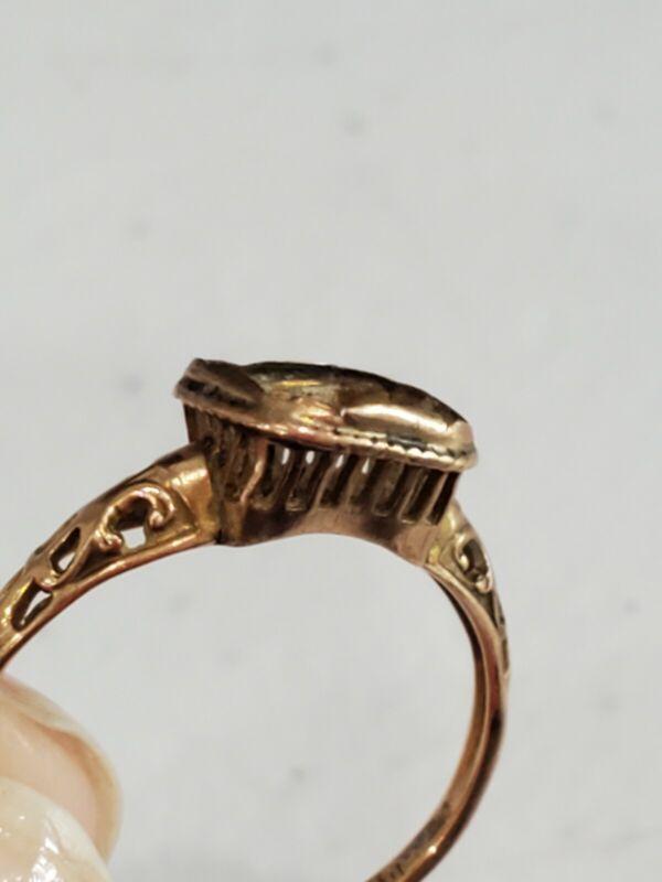 Antique 1890 Art Nouveau 10K Filigree RING SETTING For Rectangular Stone