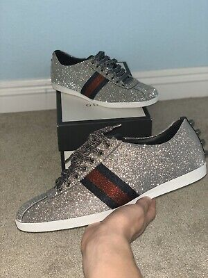"""gucci web sneaker """"glitter studs"""" size 9 BRAND NEW with box and receipt"""