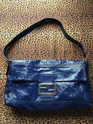 (Fab! $1330. FENDI Handbag Blue Crinkled Patent Leather Convertible Baguette LRG)