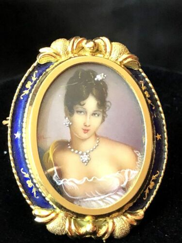 Corletto 18k Gold Diamond Enamel Hand Painted Portrait Pendant Brooch Italy