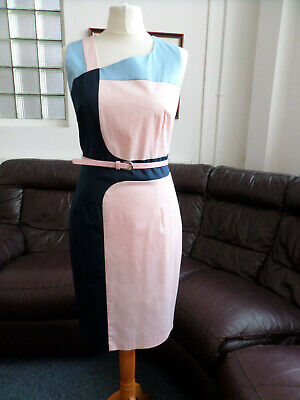 Pink & Blue Lined Smart Office Business Dress with Belt by Marie Mero Size UK 8