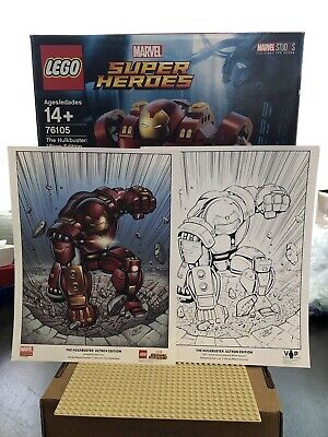 NEW IN BOX - Lego Marvel Super Heroes Hulkbuster Ultron Edition 76105 and Prints