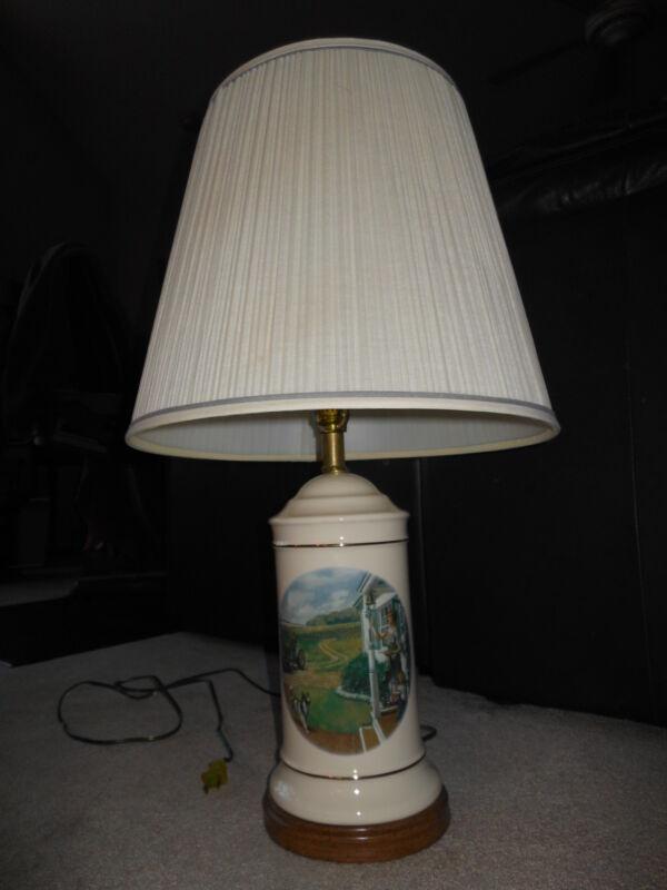 "Vintage 1993 John Deere Table Lamp...""Dinner Time"" Walter Haskell Hinton Classic"