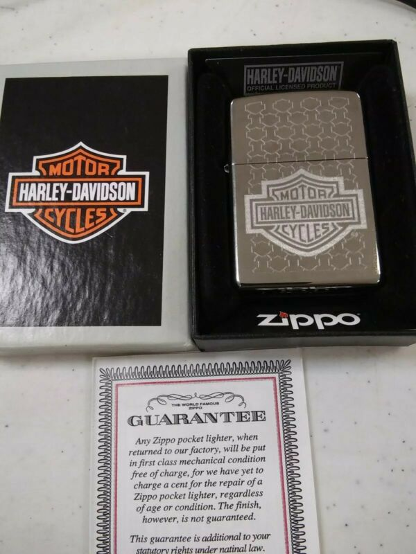 NOS Harley Davidson Zippo. Etched B&S designs- Classic  Bar & Shield