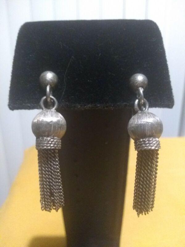 Sterling Native American 925 Tassel Earrings Silver