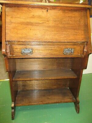 Antique Style Bureau Writing Desk with Drawer and Shelves
