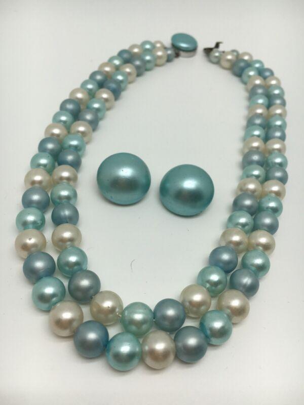 Vintage 2 Strand Blue White Plastic Bead Necklace & Clip Earrings Hong Kong 1298