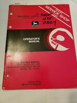John Deere 60 Skid Steer Loader Original Owners Operators Manual Sn 120001-
