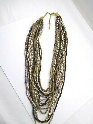 Kenneth Cole New York Goldtone Multi Strand Chain Glass Beads Necklace