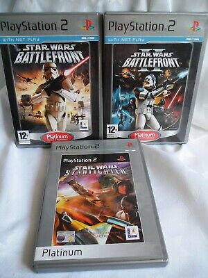 PLAYSTATION 2 (PS2) Star Wars X 3 Games Battlefront 1 & 2, Starfighter Platinum