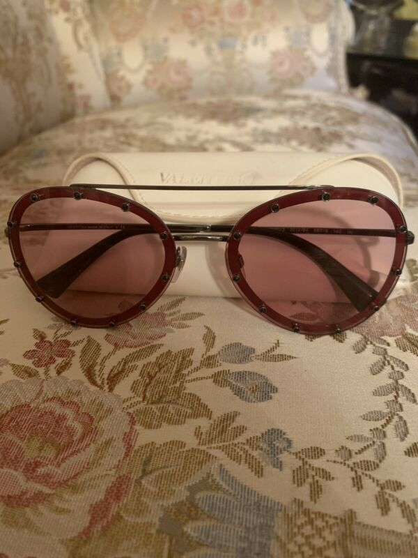 Authentic Valentino Sunglasses Pink Studs Aviator VA2013 Retail $ 470