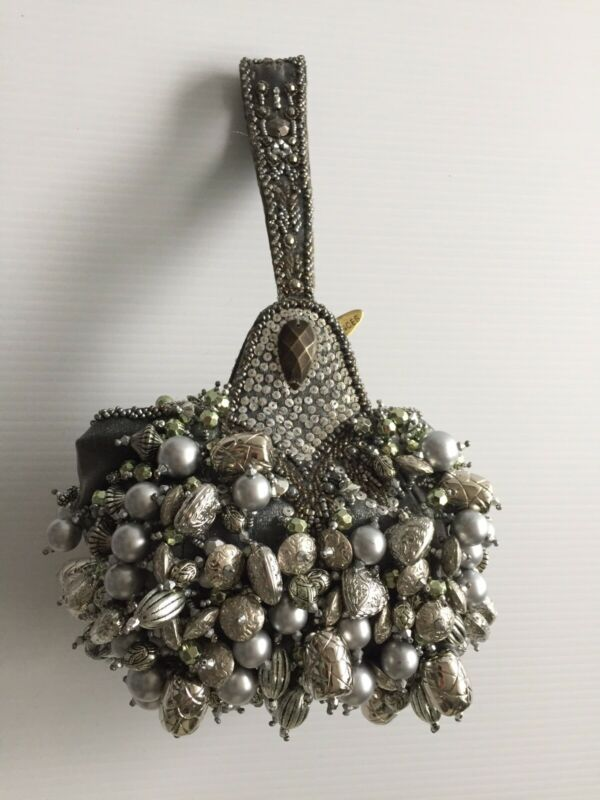 Mary Frances Beaded Wristlet Bag in Silver/Pearl Colors