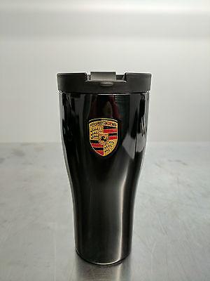 OEM Porsche Coffee Travel Mug Thermal Insulating Stainless Black WAP0500630H