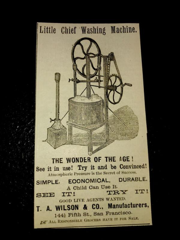 1883 Little Chief Washing Machine Farm Advertising - San Francisco - California