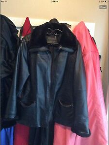 Women's black leather jacket with plush lining size 18