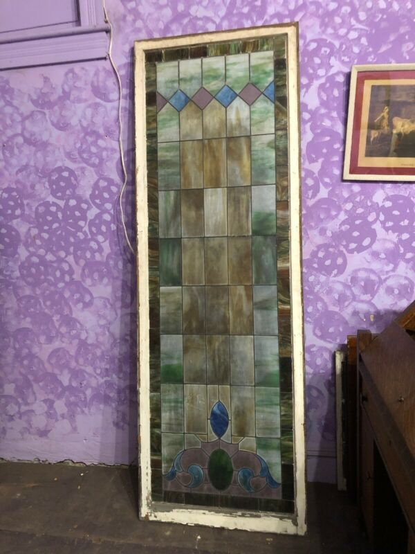 "Large Vintage Antique  Leaded Stained Glass Church Window 30 3/4""x 89 3/4"""