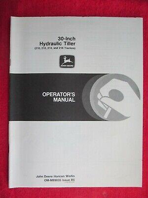 John Deere 210 212 214 216 Garden Tractor 30 Hyd Tiller Operators Manual