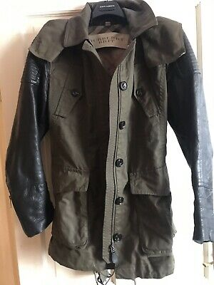 BURBERRY BRIT MILITARY GREEN Unlined WAXED JACKET WITH LEATHER SLEEVES, Size L