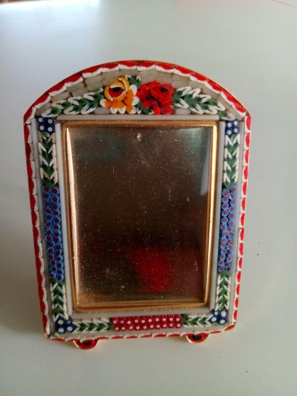 "Vintage Mini Micro MOSAIC Millefiori ITALY Easel Picture Photo Frame 3"""