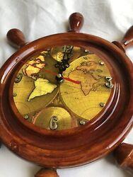 Boat Ship Captains Nautical Porthole Wall Wood Clock Watch Steering Wheel