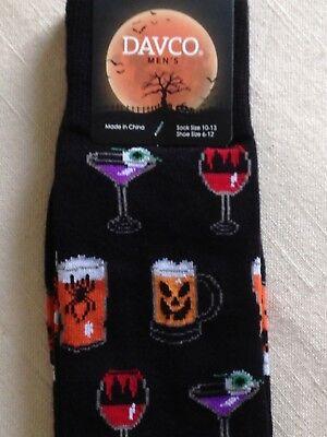 Davco HALLOWEEN Socks Drinks Potions Beer Wine Ale Casual Black Crew Socks - Halloween Beer Drinks