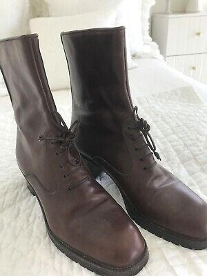 Vintage JOAN & DAVID Couture Brown Leather Ankle Boots Size 8 1/2  US 8.5
