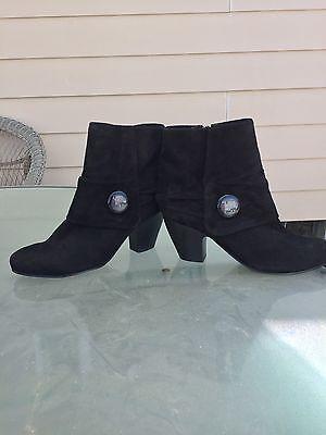 Women's Vero Cuoio Aquatalia Suede Black Ankle Boots Heels Size 10 M NEW