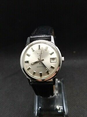 Vintage 1960s Elgin mens17 Jewel Waterproof With Date Swiss Watch. All stainless