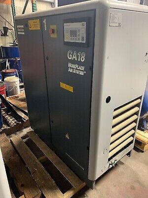 Atlas Copco Ga18 Workplace Air System 25hp Rotary Screw Air Compressor
