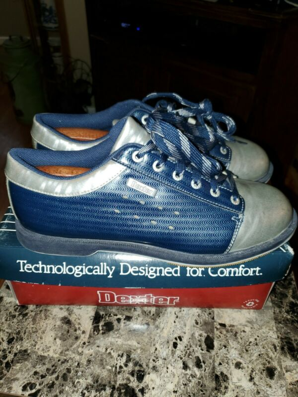 Dexter Bowling Shoes Mens 10.5M B2023-8 Kurt Navy/Silver with Shoe Stretchers