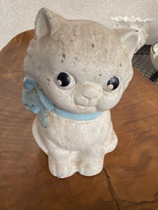 Vintage Cast Iron Still Bank Hubley Little Kitty with Blue Bowtie Collar Cute