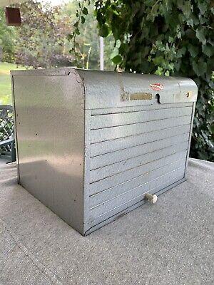 Vintage Brumberger Metal Industrial Dark Room Film Storage Cabinet Safe Roll Top