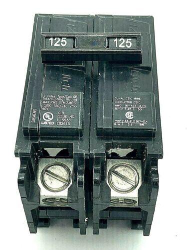 Siemens Q2125P 2 Pole 125 Amp 120/240VAC Plug In Breaker Type QP Molded Case NOS