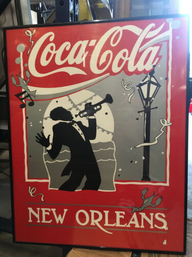 LAR0017 Coca Cola New Orleans with Man Playing Jazz Metal Framed Picture Red / B