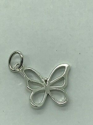 Tiffany   Co Sterling Silver Nature Open Butterfly Charm Pendant
