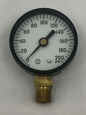 New Old Stock 200 Pressure Gauge 200 Psi Gauge-bronze Tube Brass Socket 29308by