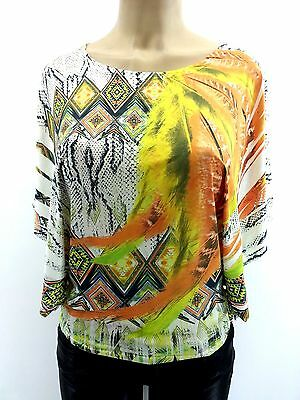 New SUBLIMATION TOP Orange Crochet Vibrant Color Aztec Print Dolmen Batwing Top