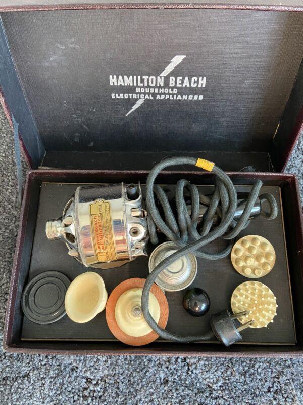 """Antique Hamilton Beach """"Type F"""" Vibrator Massager w/ Case - EUC - 4 Attachments"""