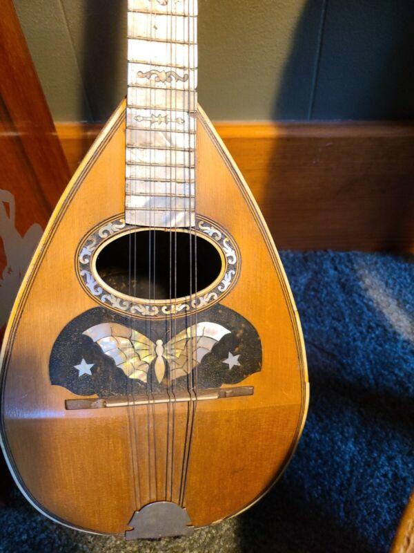 Jaberg Mandolin Butterfly Abalone Inlay Round Back Alligator Case VTG