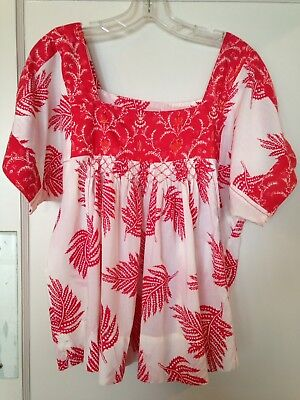Corsage Anthropologie cotton peasant blouse top L red white smocked Mexican