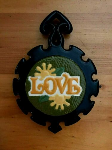 Vintage Ceramic Black Green Yellow Love Flower Trivet Chris Rhame