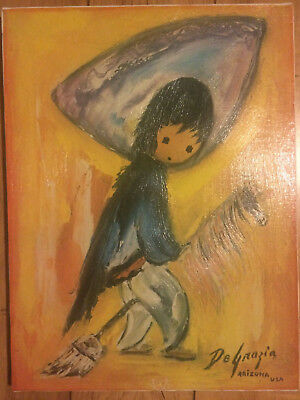 My First Horse Ettore Ted DeGrazia Arizona Oil Painting on Canvas