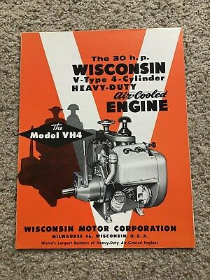 1950s Wisconsin V-type 4-cylinder Air-cooled Engine Original Sales Literature