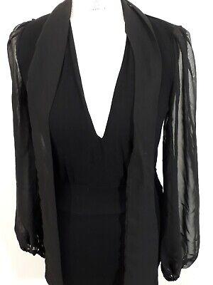 John Zack Midi Dress - Size 8 - Black - Stretchy - Bishop Sleeves