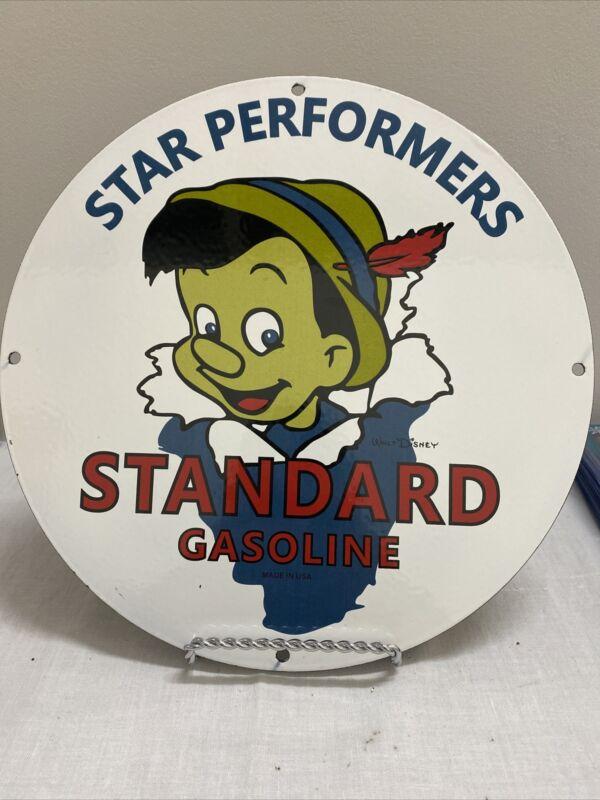 VINTAGE PORCELAIN STANDARD GASOLINE STAR PERFORMERS GAS AND OIL SIGN