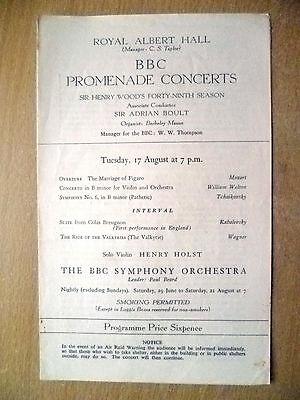 Royal Albert Hall;BBC Promenade Concerts- SIR HENRY WOOD'S 49 SEASON, 17 Aug