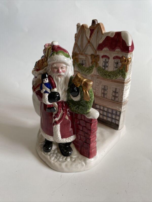 """fitz & floyd vintage 1987 """"dickens"""" christmas napkin/letter holder ceramic"""