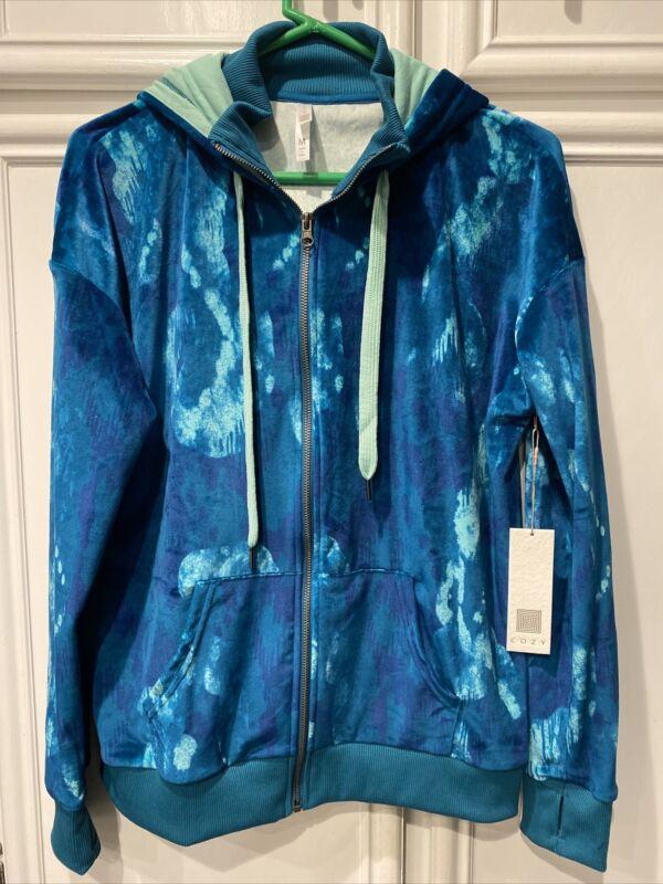 NWT LulaRoe Cozy Bethany Zip Up Velour Jacket Aqua Medium/M