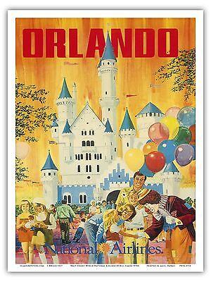 Florida Vintage Poster (Orlando Florida USA Disney World Vintage Airline Travel Art Poster)
